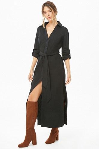 Forever21 Patch-pocket Maxi Shirt Dress