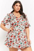 Forever21 Plus Size Floral Polka Dot Shirt Dress