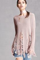 Forever21 Open-knit Distressed Sweater