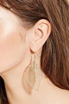 Forever21 Leaf Cutout Drop Earrings