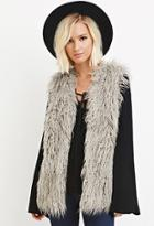Forever21 Collarless Shaggy Vest