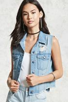 Forever21 Raw-hem Distressed Denim Vest