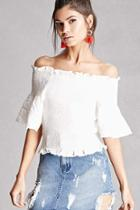 Forever21 Ruffled Smocked Crop Top