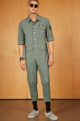 Forever21 Ing2ing Patch Cargo Jumpsuit