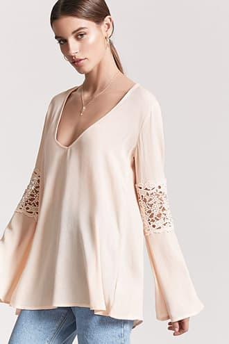Forever21 Crochet Lace-trim Top