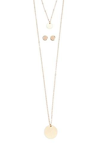 Forever21 Flat Disc Pendant Layered Necklace & Stud Earrings Set