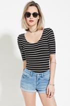 Forever21 Women's  Medium Denim Cuffed Denim Shorts