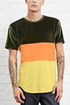 21 Men Men's  Olive & Orange Eptm. Velour Colorblock Tee