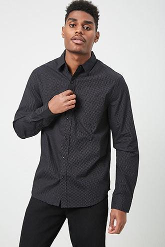 Forever21 Pin Dot Pocket Shirt