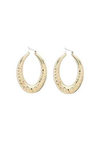 Forever21 Etched Oval Hoop Earrings