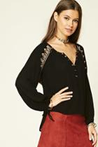 Forever21 Embroidered Sequin Top