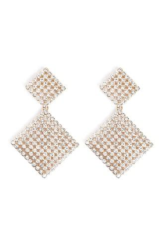 Forever21 Rhinestone Tiered Drop Earrings