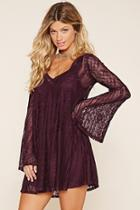 Love21 Women's  Burgundy Contemporary Lace Dress