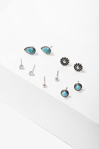 Forever21 Faux Turquoise Burnished Stud Earrings Set