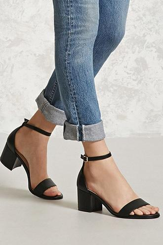 Forever21 Faux Leather Ankle-strap Heels