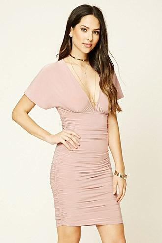 Love21 Women's  Mauve Plunging Bodycon Dress