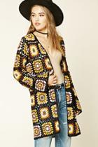 Forever21 Women's  Geo Pattern Open-knit Cardigan