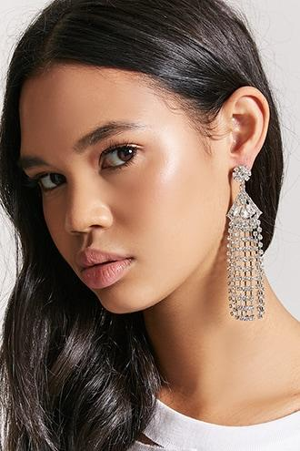 Forever21 Rhinestone Geo Duster Earrings
