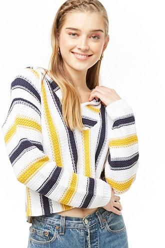 Forever21 Hooded Striped Sweater