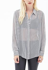 Forever21 Striped Chiffon Blouse