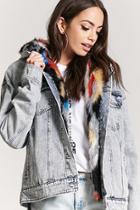 Forever21 Multicolored Faux Fur Denim Jacket