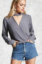 Forever21 Chiffon Mock Neck Top
