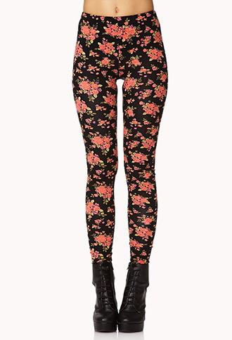Forever21 Rose Print Leggings