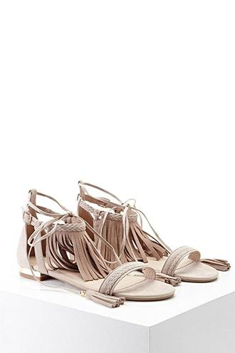 Forever21 Genuine Suede Lace-up Sandals