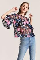 Forever21 Sheer Floral Boxy Top