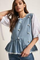 Forever21 Denim Faux Pearl Frayed Top