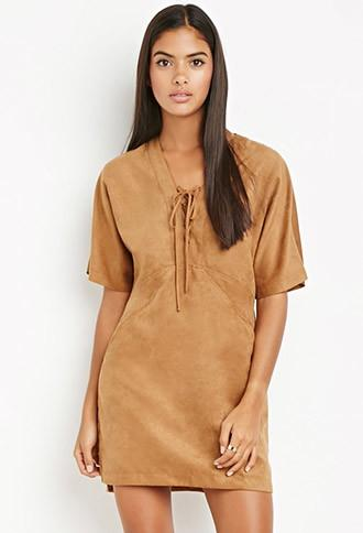 Love21 Faux Suede Lace-up Dress