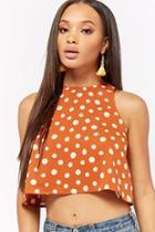Forever21 Polka Dot Cropped Tank Top