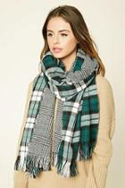 Forever21 Green & Black Tartan Plaid Oblong Scarf
