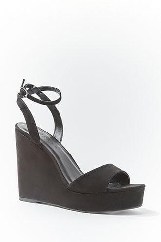 Forever21 Single-strap Faux Suede Wedges