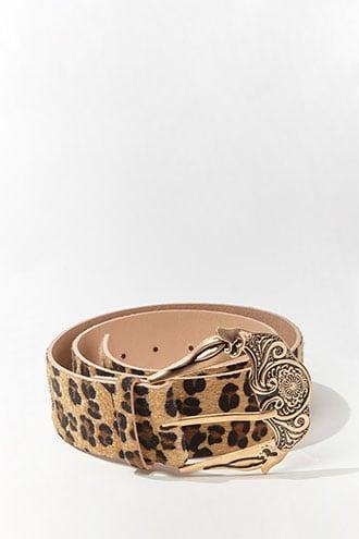 Forever21 Faux Fur Leopard Print Waist Belt
