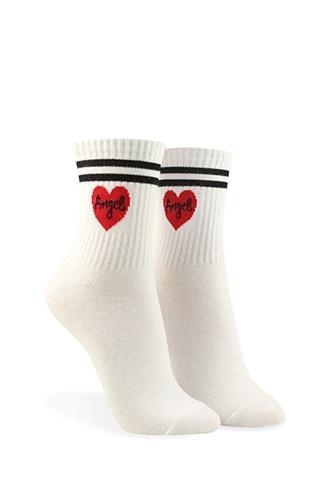 Forever21 Angel & Heart Varsity Crew Socks
