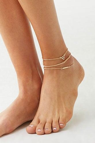 Forever21 Triangle & Bar Charm Anklet Set