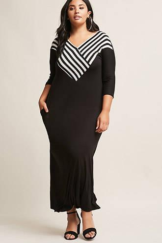 Forever21 Plus Size Stripe Trim Maxi Dress