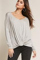 Forever21 Heathered Twist-front Tee