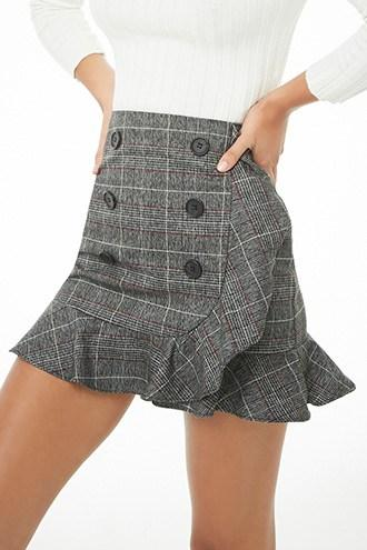 Forever21 Double-breasted Plaid Mini Skirt