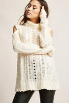 Forever21 Open-shoulder Cable Knit Top