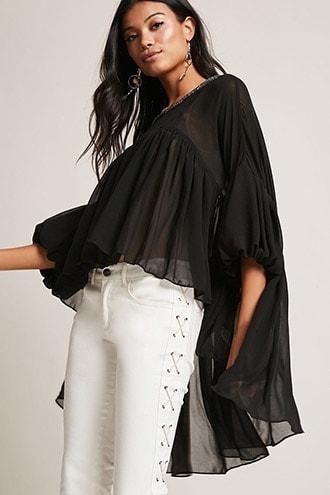 Forever21 Beaded Chiffon High-low Top
