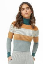 Forever21 Striped Colorblock Turtleneck Sweater