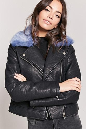 Forever21 Faux Fur Collar Moto Jacket