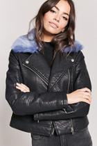Forever21 Faux Fur Collar Moto Jacket