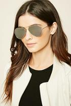 Forever21 Rose Gold & Silver Mirrored Aviator Sunglasses