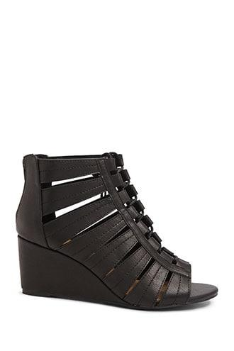 Forever21 Faux Leather Caged Wedges