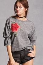 Forever21 Floral Heathered Top
