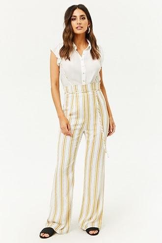 Forever21 Striped Suspender Pants