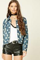 Forever21 Women's  Distressed Star Denim Jacket
